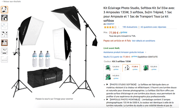 kit éclairage softbox pour les youtubeurs professionnels