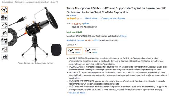 microphone tonor - microphone création vidéo youtube petit budget