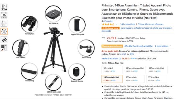 support de caméra phinistec